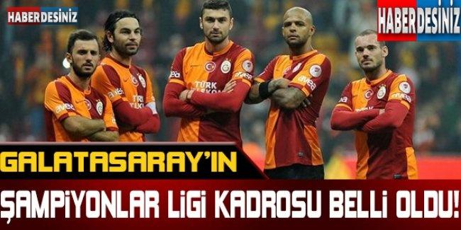 Galatasaray'ın Şampiyonlar Ligi kadrosu belli oldu !