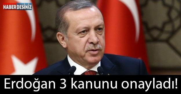 Erdoğan 3 kanunu onayladı!