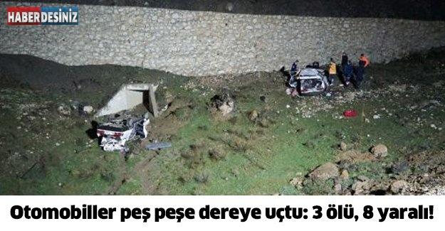 Otomobiller peş peşe dereye uçtu: 3 ölü, 8 yaralı!