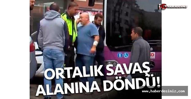 Direksiyon hakimiyeti kaybedilen otobüs beş araç ve bir kadına çarptı