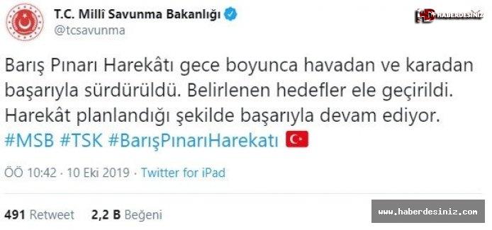 MSB duyurdu  Barış Pınarı Harekâtı'nda belirlenen hedefler ele geçirildi.