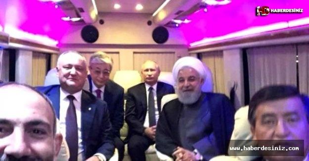 Putin ve Ruhani otobüste fotoğraf çekildi