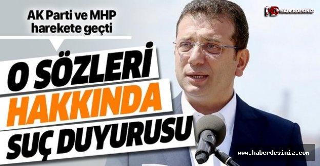 CHP'li Ekrem İmamoğlu'nun  'sözüne suç duyurusu.