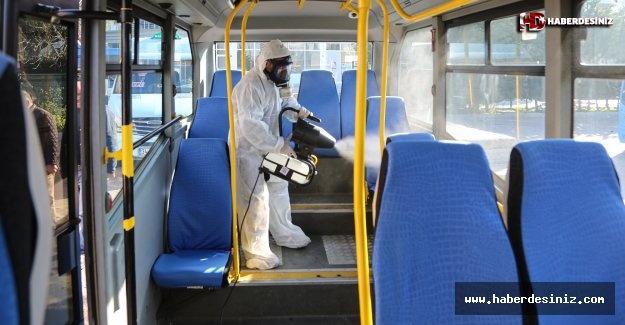Maltepe'de minibüsler dezenfekte edildi
