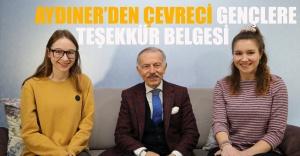 Aydıner'den Çevreci Gençlere Teşekkür Belgesi
