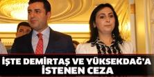 İşte Demirtaş ve Yüksekdağ'a istenen ceza