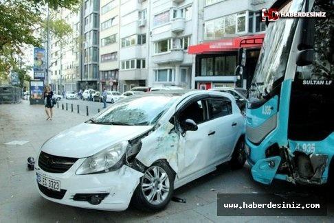 Kontrolden çıkan özel halk otobüsü korku saçtı! 2 yaralı.