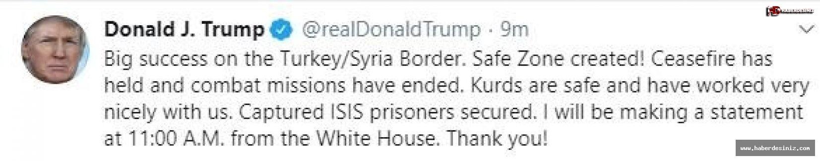 ABD Başkanı Donald Trump'tan açıklama.