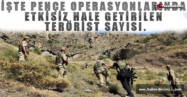 İşte Pençe operasyonlarında etkisiz hale getirilen terörist sayısı.