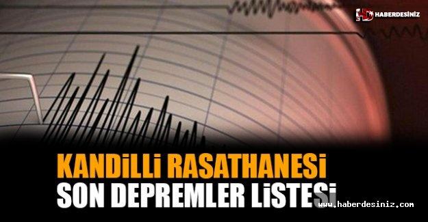 Kandilli Rasathanesi Son Depremler Listesi